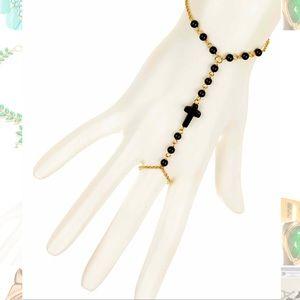 NWOT Meghan LA Cross hand bracelet and ring